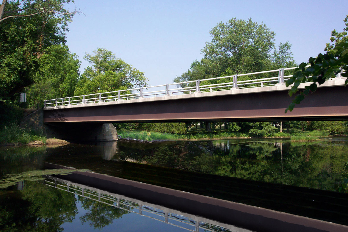 A photograph simulation of a proposed single span bridge