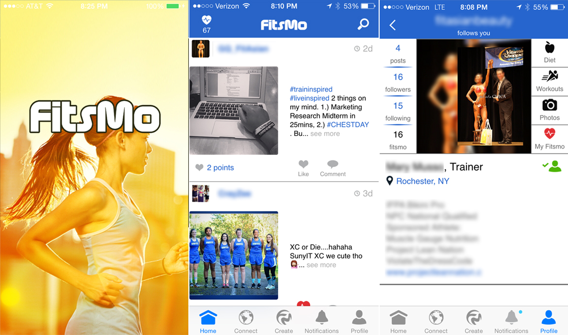 FitsMo is a feature-rich fitness based social mobile app freely available on the App Store for all versions of the iPhone.  This application gives users a platform to inspire others, while allowing them to follow models, personal trainers, and friends that keep them motivated