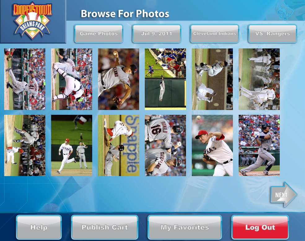 Users can easily find photos from any specific game, even in-studio team photos