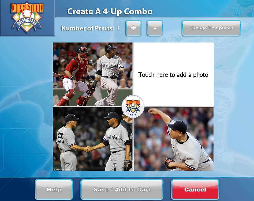 Users can create a wide range of memorabilia using the kiosk, including collage posters