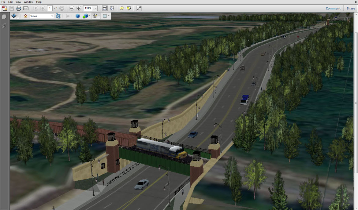 Byron built an interactive simulation of a planned highway improvement, complete with accurate topography, within a PDF document