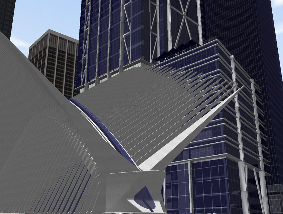 A simulation of the World Trade Center memorial site (created prior to its construction)