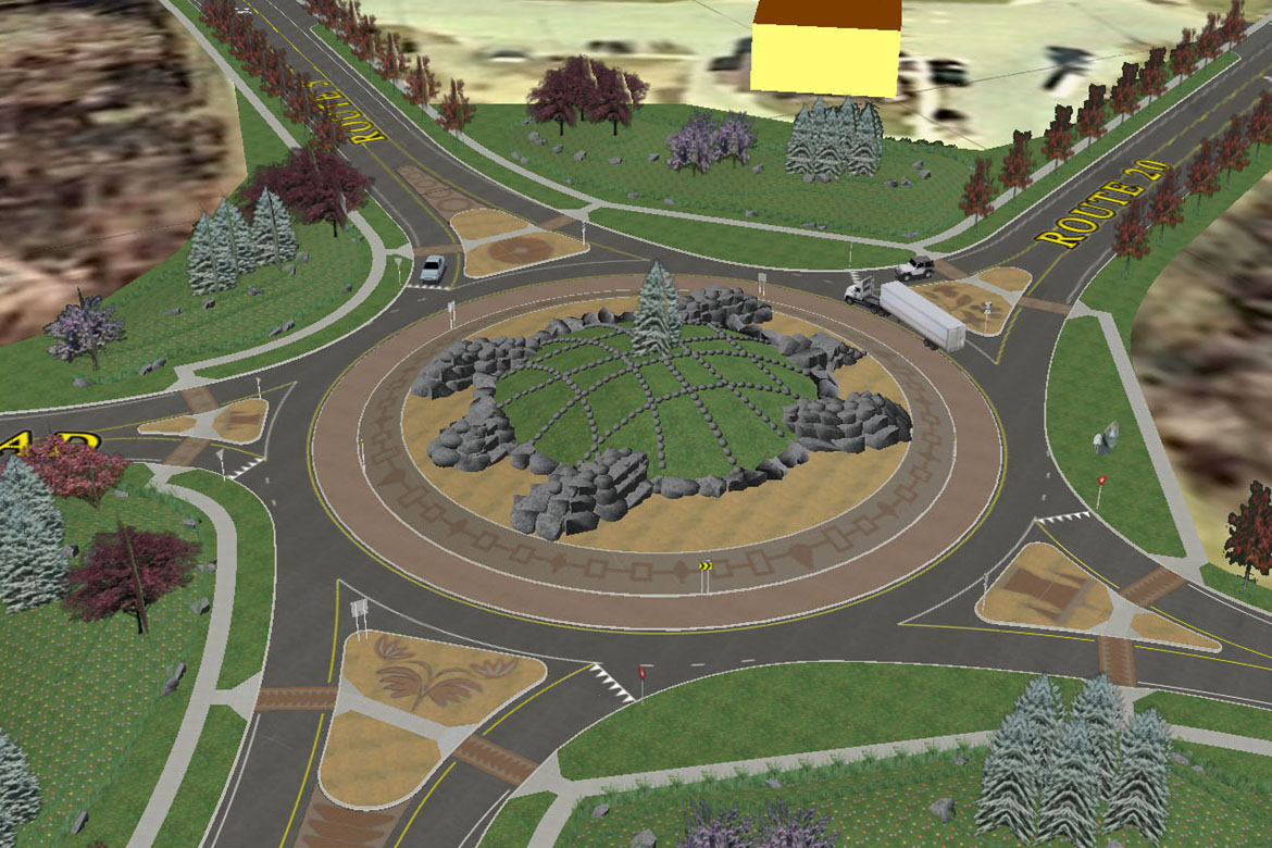 A simulation of a planned landmark roundabout at the intersection of NYS Routes 5 and 20