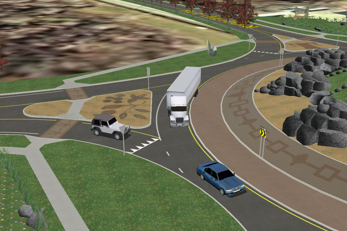 Traffic consistent with projected volumes approach the roundabout and use artificial intelligence to determine whether to enter the roundabout or yield to oncoming vehicles