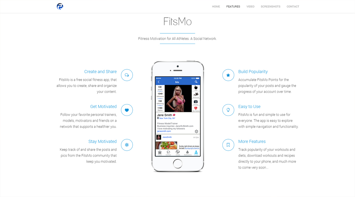 An informational website providing features and product updates for FitsMo, a fitness-based social media mobile app developed by Byron Jones