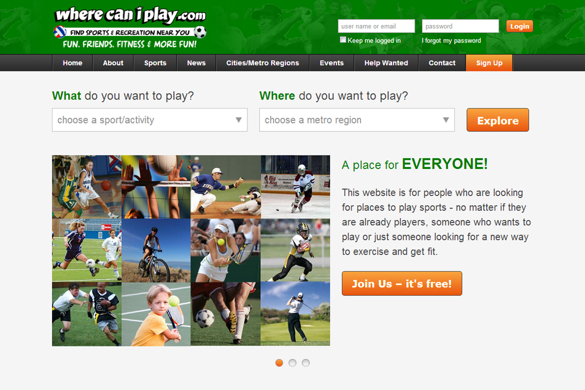 A search engine to find facilities, leagues, tournaments, or players where any sport/activity of interest is played